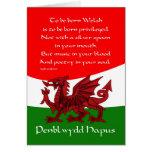 Tarjeta de cumpleaños del dragón Galés - poema de