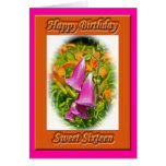 Tarjeta de cumpleaños del dulce 16 de los Foxglove