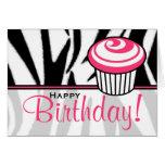 Tarjeta de cumpleaños del estampado de zebra con