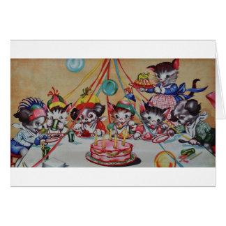 Tarjeta de cumpleaños del fiesta del gato y del pe