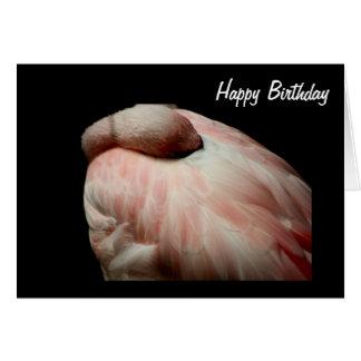 Tarjeta de cumpleaños del flamenco el dormir