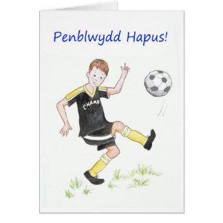 Tarjeta de cumpleaños del fútbol de los muchachos:
