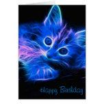 Tarjeta de cumpleaños del gato del fractal