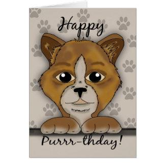 ¡Tarjeta de cumpleaños del gato que dice Purrr-thd Tarjeta De Felicitación