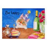 Tarjeta de cumpleaños del gato y del ratón