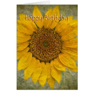 Tarjeta de cumpleaños del girasol del vintage