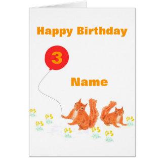 Tarjeta de cumpleaños del globo de las ardillas ro