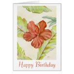 Tarjeta de cumpleaños del hibisco
