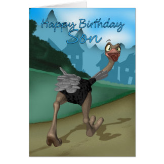 Tarjeta de cumpleaños del hijo - avestruz del dibu