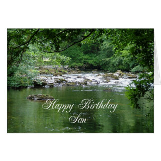 Tarjeta de cumpleaños del hijo que muestra un río