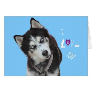 Tarjeta de cumpleaños del husky siberiano