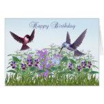 Tarjeta de cumpleaños del jardín del colibrí