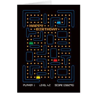 Tarjeta de cumpleaños del juego de ordenador del