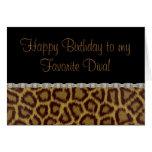 Tarjeta de cumpleaños del leopardo del cumpleaños