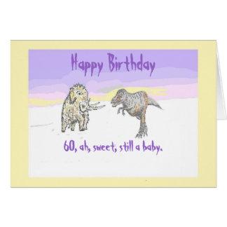 Tarjeta de cumpleaños del mamut lanoso y del dinos