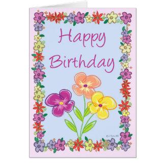 Tarjeta de cumpleaños del marco de la flor