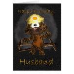 Tarjeta de cumpleaños del marido - gato del minero
