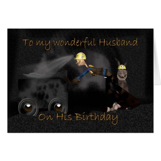 Tarjeta de cumpleaños del marido - mula del minero