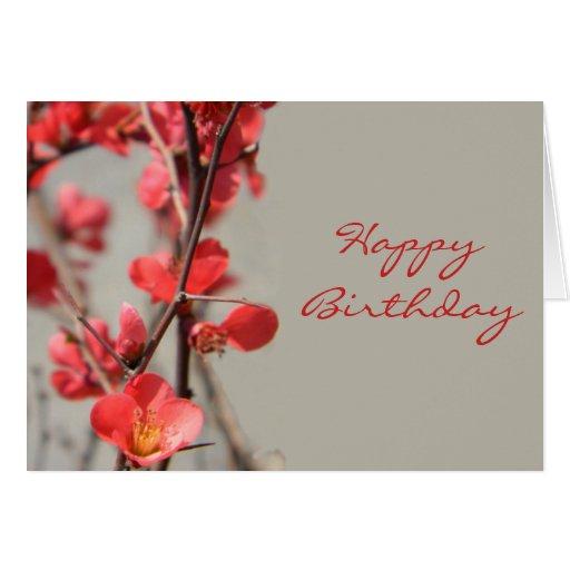 Tarjeta de cumpleaños del membrillo floreciente