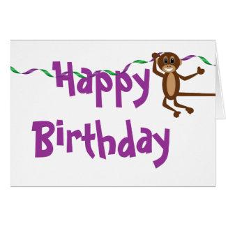 Tarjeta de cumpleaños del mono