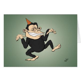 Tarjeta de cumpleaños del mono del baile