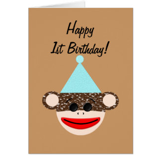 Tarjeta de cumpleaños del mono del calcetín