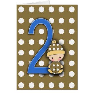 Tarjeta de cumpleaños del muchacho de 2 años