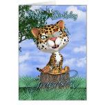 Tarjeta de cumpleaños del nieto con Jaguar lindo y