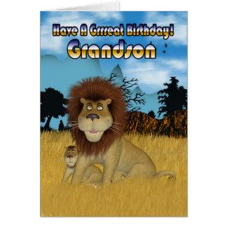 Tarjeta de cumpleaños del nieto - león y Cub
