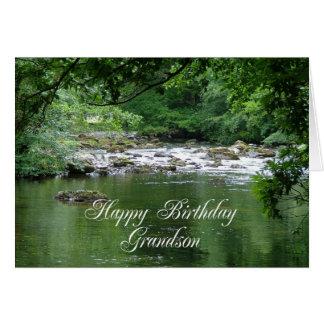 Tarjeta de cumpleaños del nieto que muestra un río
