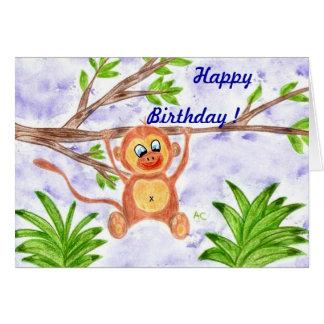 Tarjeta de cumpleaños del niño del mono de la