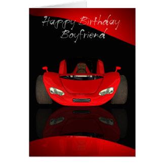Tarjeta de cumpleaños del novio con el coche de de