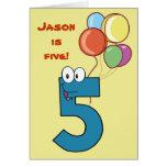 Tarjeta de cumpleaños del número cinco