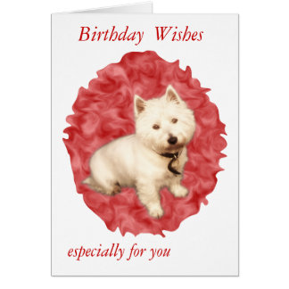 Tarjeta de cumpleaños del oeste de Terrier de la m
