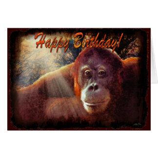 Tarjeta de cumpleaños del orangután y de la luz de