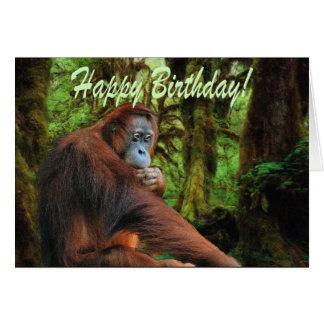 Tarjeta de cumpleaños del orangután y de la selva