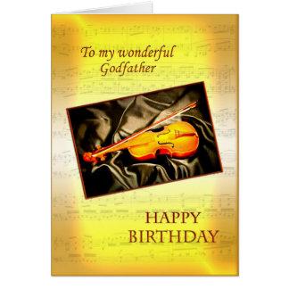 Tarjeta de cumpleaños del padrino con un violín