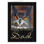 Tarjeta de cumpleaños del papá con el búho de Eagl