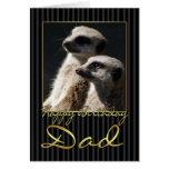 Tarjeta de cumpleaños del papá con el meerkat