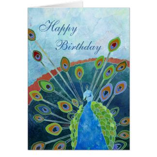 Tarjeta de cumpleaños del pavo real