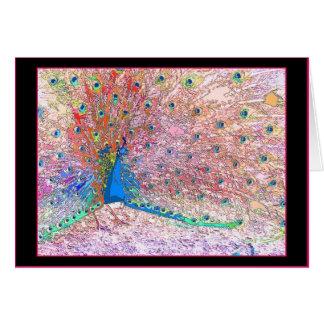 Tarjeta de cumpleaños del pavo real del arco iris