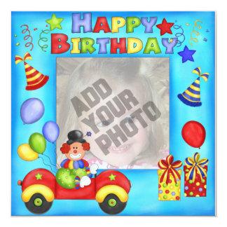 """Tarjeta de cumpleaños del payaso de la foto invitación 5.25"""" x 5.25"""""""