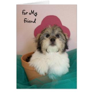 Tarjeta de cumpleaños del perrito del amigo
