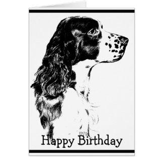 Tarjeta de cumpleaños del perro de aguas de saltad