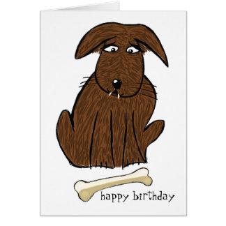 Tarjeta de cumpleaños del perro y del hueso