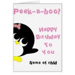 Tarjeta de cumpleaños del pingüino para la chica j