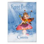 Tarjeta de cumpleaños del primo - hada linda en un
