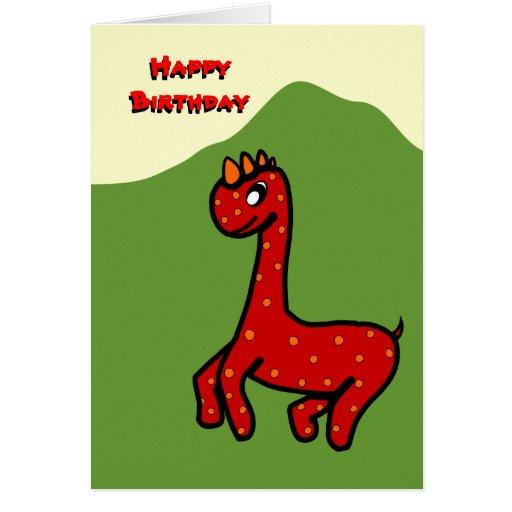 Tarjeta de cumpleaños del punto de Dino del bebé