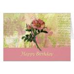 Tarjeta de cumpleaños del rosa de perro