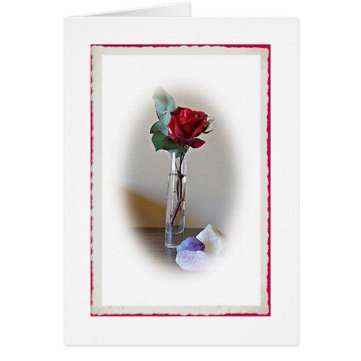 Tarjeta de cumpleaños del rosa rojo